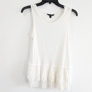 Banana Republic White Tank with Crinkled Lace S